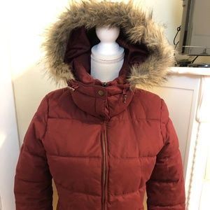 Old Navy Size S/P Maroon Puffer Lined Jacket
